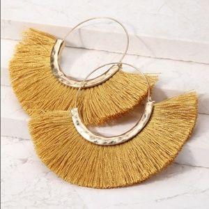 Jewelry - Mustard Fan Fringe Earrings